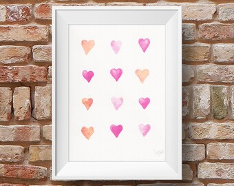 Pink and orange hearts