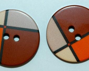 """Mondrian Buttons. Set of 2 Sz 7/8"""""""