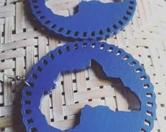 Royal Blue African Map earrings