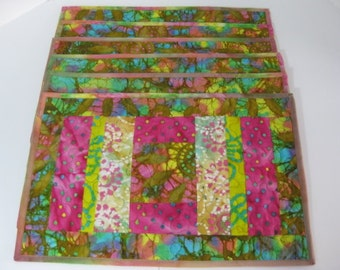 Six - Quilted Placemats, Batik Placemats, Handmade Quilted Placemats