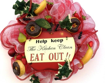 Picnic Time Wreath Outdoor Picnic Wreath Kitchen Clean Wreath Ants donnuts Wreath Fruit and Ants Wreath Kitchen Wreath
