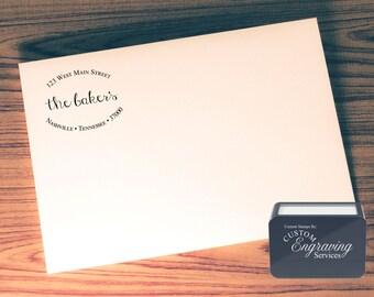 Custom Return Address Stamp - SELF INKING - Calligraphy - Handwriting Script - Personalized Wedding Stationery Stamp # 13