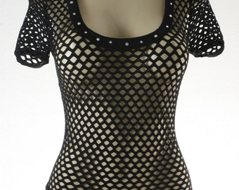 Exotic Dancewear Black  Net one piece