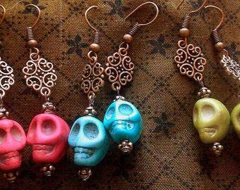 Filigree Skull Dangle Earrings