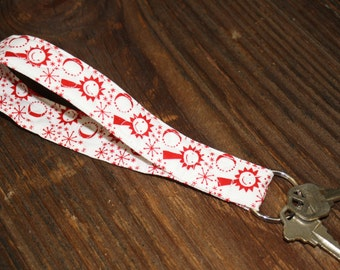 Key Fob - Sun, Moon and Stars Quilted Wristlet