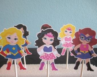 Girl Superhero Cupcake Toppers(12)Superhero party,Superhero Birthday,Girl superhero party,Girl Superhero Birthday
