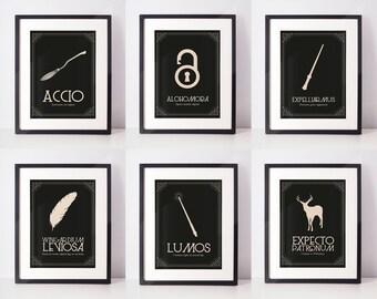 Harry Potter Spells - Set of 6 poster prints