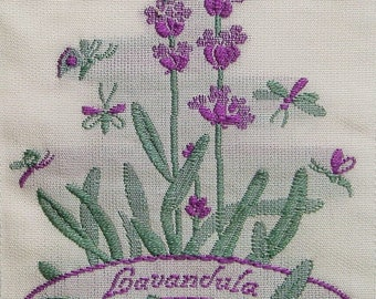 "woven  label ""Lavender"" 50x100 mm Flower Garden France Provence"