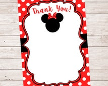 Blank Minnie Mouse Thank You Note Cards Instant Download Printable DIY 4x6 PDF JPG