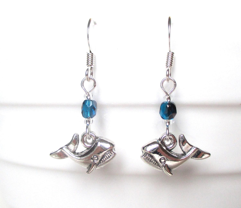 whale earrings blue whale earrings diving gift sea