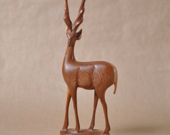 Large Wooden deer - two tone wood - handmade - hand carved - figurine - gazelle - antelope - Kenya - teak - Tribal art