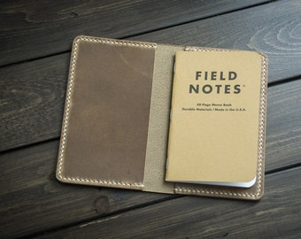 Leather Field Notes Cover - Journal Cover - Field Notes Travel Case - Driftwood