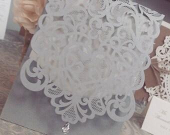 Silver Láser Cut Wedding Invitation