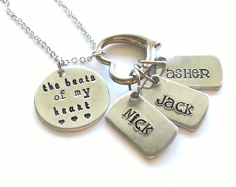 the beats of my heart hand stamped mother's necklace