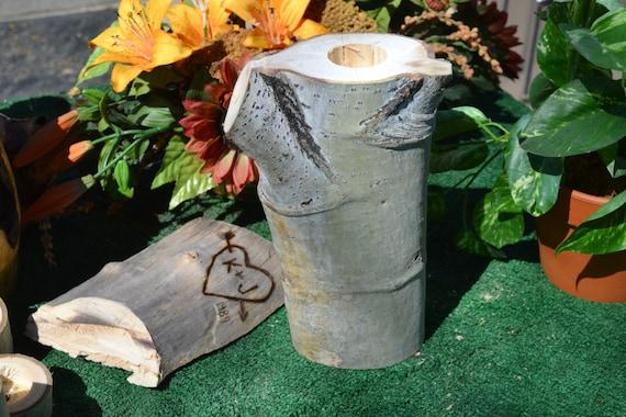 Natural rustic aspen log candel holders wedding decor by for Aspen logs for decoration