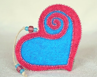 Beaded Pink and Blue Wool Felt Heart Ornament #2, Mother's Day Heart, Wedding Favor, Proposal Idea, Anniversary Gift *Ready to ship