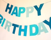 Blue Ombre Happy Birthday Banner // Garland // Bunting