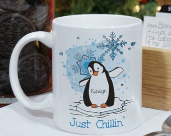 Personalized Just Chillin' Penguin Personalized Winter Coffee Mug
