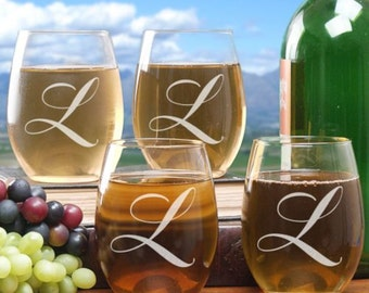 Personalized Engraved Initial Stemless Wine Glass Set