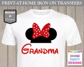INSTANT DOWNLOAD Print at Home Red Girl Mouse Ears Grandma Printable Iron On Transfer / DIY T-shirt / Family Trip / Party / Item #2381