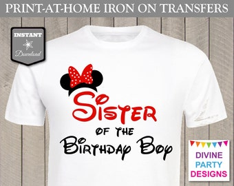 INSTANT DOWNLOAD Print at Home Red Girl Mouse Sister of the Birthday Boy Printable Iron On Transfer / T-shirt / Trip / Item #2337