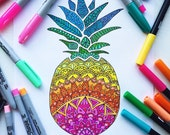 Downloadable coloring page, Pineapple adult coloring page, Summer coloring page, Kids coloring page download, Mandala coloring page