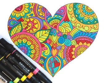 Heart Coloring Page Download Valentines Day Adult Kids Printable