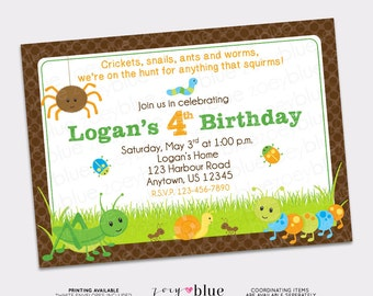 Bug Hunt Birthday Invitation Boy First 1st Birthday Bug Invitation Green Brown Spider Cricket Caterpillar - Printable Digital File