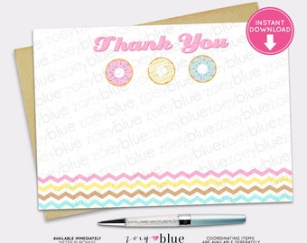 Donut (Doughnut) BLANK Thank You Sweet Doughnut Candy Pink Yellow Chevron - INSTANT DOWNLOAD Printable Digital File