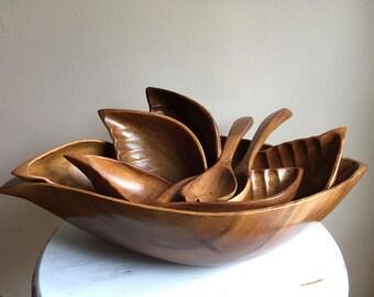 Vintage Paul Marshall (Monkey Pod?) Tropical Leaf Shape Wood Salad Bowl Set - Mid Century Modern Wood Bowls & Salad Spoons - Set of 9 pieces