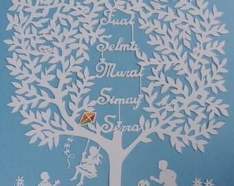 Family Tree Paper Art