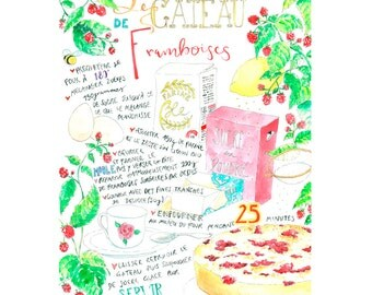 """Recipe: """"Le gateau de fraises"""" in French - A3, print of my original watercolor-illustration of the raspberry cake- decoration"""