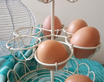 Vintage French white Iron Wire Egg Holder...French Bistro Brasserie...Egg Tray...Egg basket...Brocante...Shabby Chic..French Country Kitchen