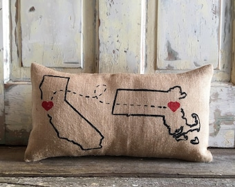 Pillow Cover | Burlap Pillow | Love Connection | Custom City, State pillow | Anniversary pillow | Engagement gift