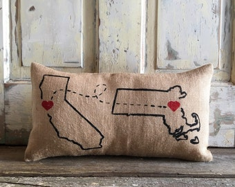 Burlap Pillow - Love Connection | Custom City, State pillow | Valentines Day Gift | gift for him, gift for her | Holiday Gift | Christmas