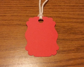 20 Red Tags, Red #1 , Hanging Labels, Hang Tags, Card Stock, Gift Tags, Gift Bag Tags