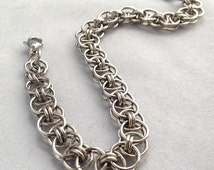 Steel Inox Bracelet, Helms Weave Chainmaille, Steel Chainmail Jewellery, Mens Stainless Steel Chain, Steel Gifts for Men, Unisex Teen Gift