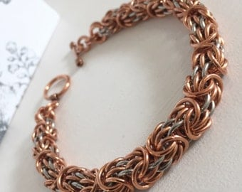 Mens Heavy Bracelet, Chainmaille Bracelet, Mans Copper Jewelry, Manly Chunky Bracelet, Copper and Steel Mixed Metal Cuff, Biker Chain Male
