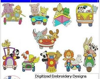 Embroidery Design CD - Traveling Friends(1) - 10 Designs - 9 Formats - Threadart