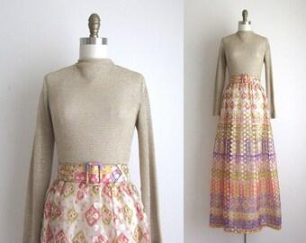 "CLEARANCE 1960s Party Dress / Vintage 1960s Dress / Gold Lurex Formal Dress 27"" Waist"