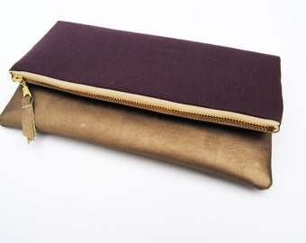 PLUM FOLDOVER CLUTCH, fold over clutch, leather clutch, linen clutch, everyday casual clutch, bridesmaid gifts, purple clutch