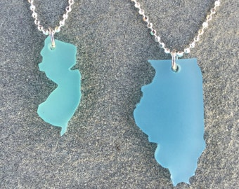 SIMPLE Sea Glass Style State Necklace