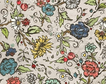 AdornIt Fabric - Chamberry Hill Garden Tan 00400 - Quilting Fabric