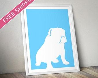 Bulldog Print (version 3) - Bulldog Silhouette, Bulldog art, dog portrait, modern dog home decor