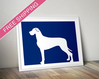 Great Dane Print (natural ears) - Great Dane Silhouette, Great Dane art, dog portrait, modern dog home decor