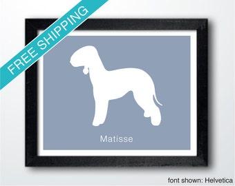 Personalized Bedlington Terrier Silhouette Print with Custom Name - Bedlington art, dog portrait, dog gift