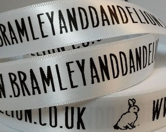 15mm x 100m Personalised, Custom Made Satin Ribbon