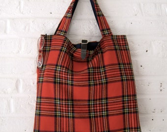 Handmade Recycled Bright Red Tartan Bag