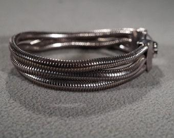 Vintage Art Deco Style Silver Tone Multi Strand Snake Chain Bracelet Jewelry     KW21