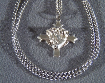 Vintage Sterling Silver Raised Figural Big Religious Style Cross Design Pendant Charm Necklace Chain W      **RL